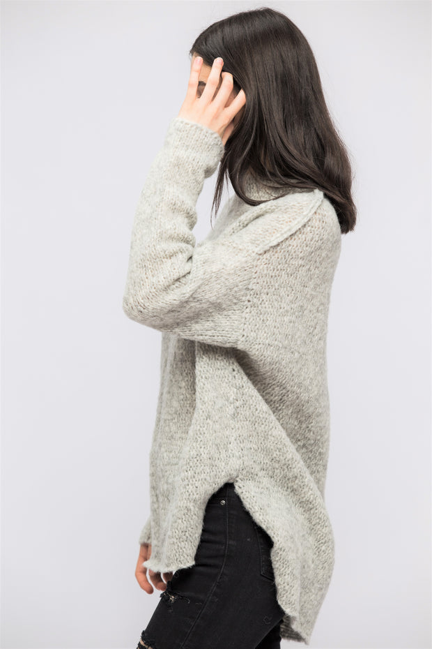 Light grey Alpaca sweater. - RoseUniqueStyle