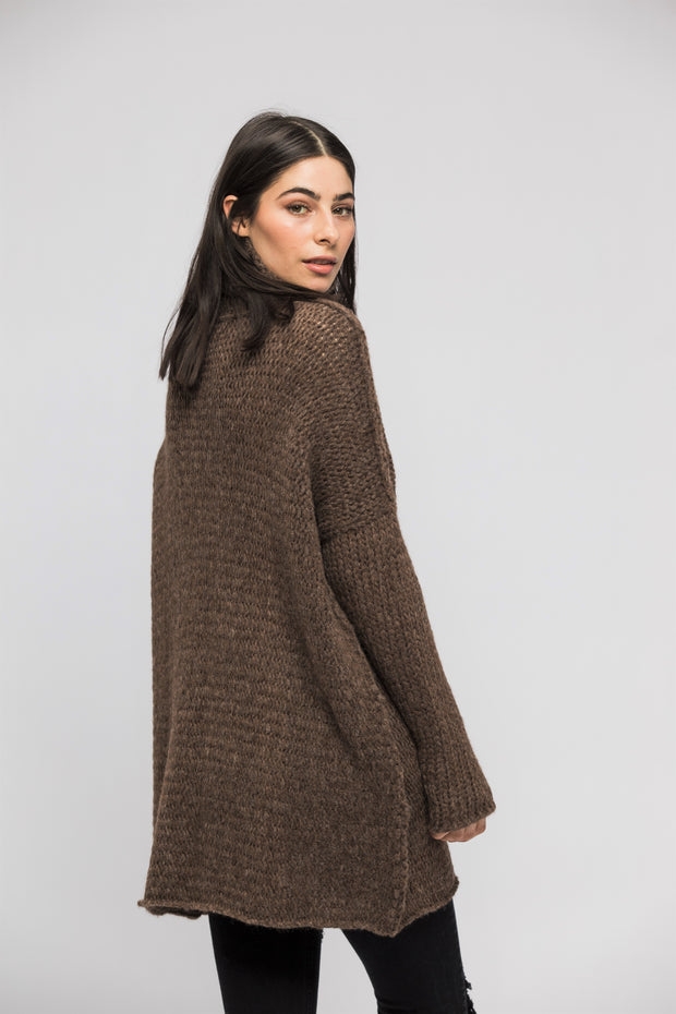 Brown Alpaca oversized woman knit sweater.