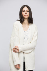 White alpaca woman knit cardigan
