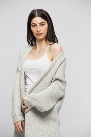 Alpaca  pearl grey knit cardigan. - RoseUniqueStyle