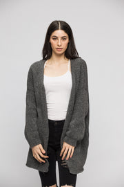 Alpaca  grey chunky knit cardigan. - RoseUniqueStyle