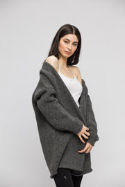 Grey alpaca chunky knit woman cardigan.