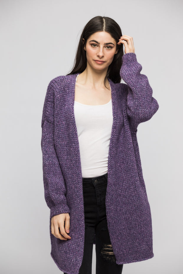 Alpaca  chunky knit cardigan - Purple. - RoseUniqueStyle