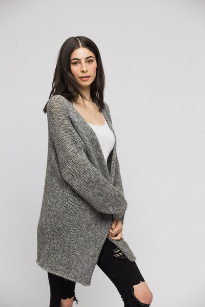 Oversized alpaca grey cardigan. - RoseUniqueStyle