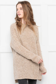 Oatmeal Peruvian Alpaca oversized knit sweater.