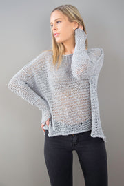 Grey Cotton woman knit sweater. - RoseUniqueStyle