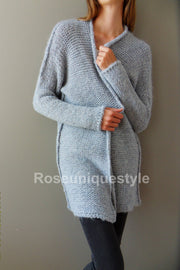 Oversized c , chunky knit , fog blue  cardigan. - RoseUniqueStyle