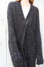 Chunky   Alpaca Oversized   Black/charcoal  cardigan. - RoseUniqueStyle