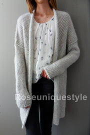 Light grey , long sleeves cardigan. - RoseUniqueStyle