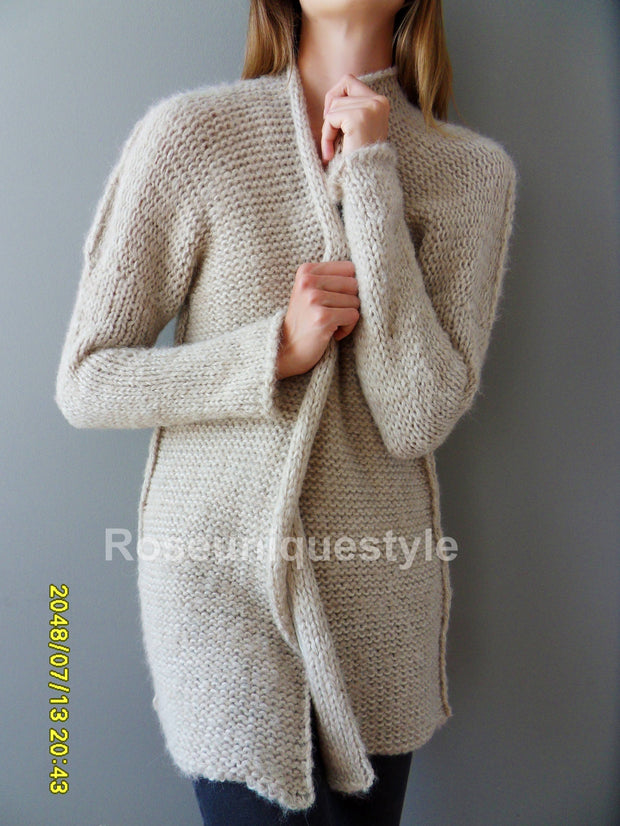 Chunky knit  Cream/Beige  women knit  cardigan. - RoseUniqueStyle