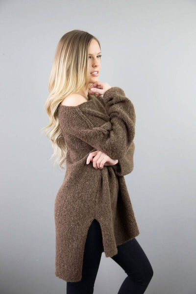 910f8b6797 Brown Alpaca Oversized knit woman sweater. - RoseUniqueStyle