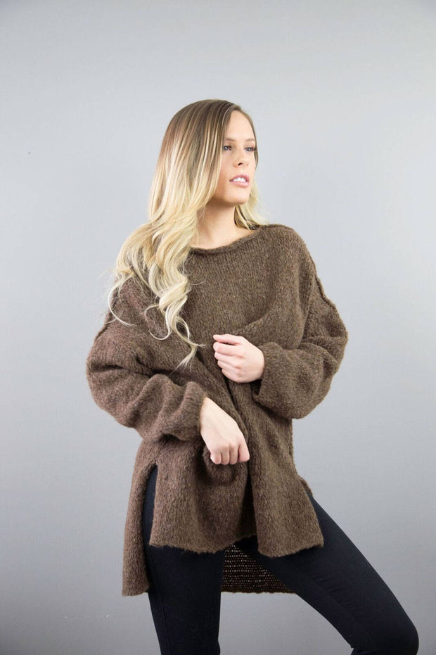 Brown Alpaca Oversized  knit woman sweater. - RoseUniqueStyle