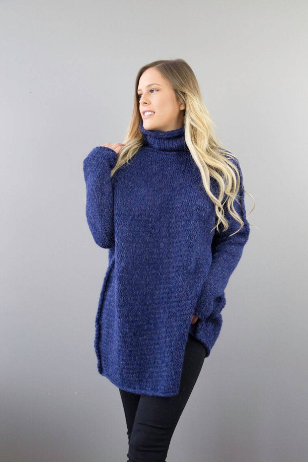 Blue Alpaca /Merino wool sweater. - RoseUniqueStyle