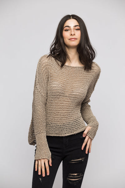 Fall/Spring chunky  linen  knit sweater. - RoseUniqueStyle