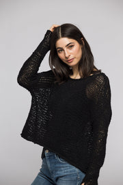 Black Loose knitted sweater . Thumb holes sweater. - RoseUniqueStyle