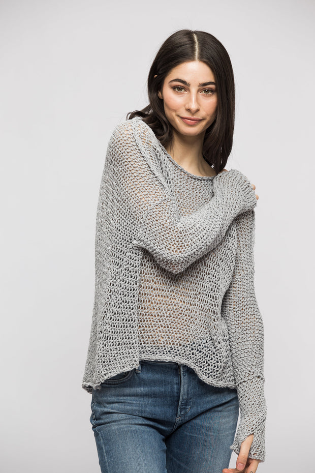 Grey cotton woman knit sweater.