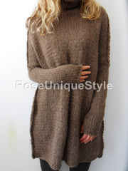 Brown alpaca wool knit  sweater. - RoseUniqueStyle