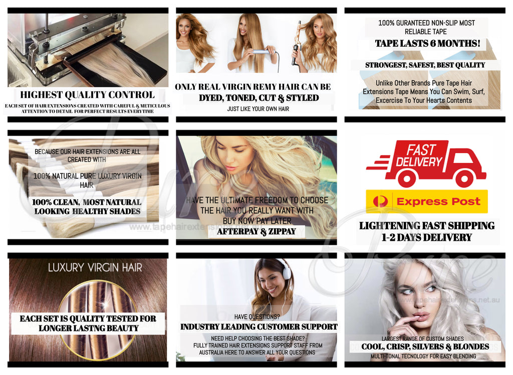 Blonde and light brown foiled hair extensions