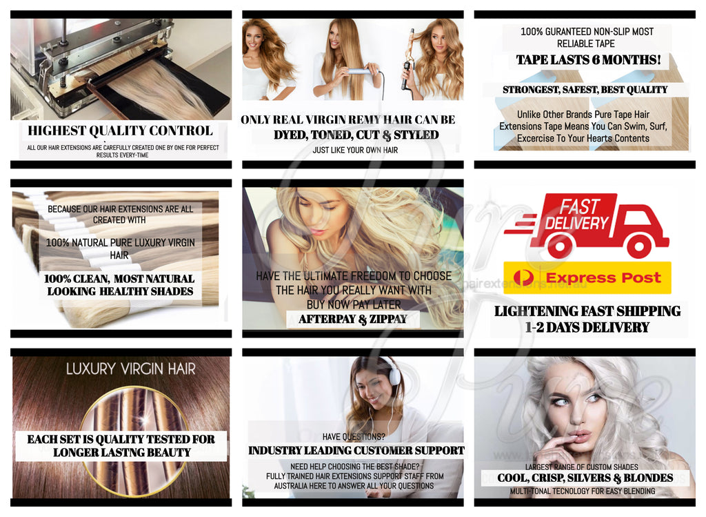 Golden blonde tape-in hair extensions