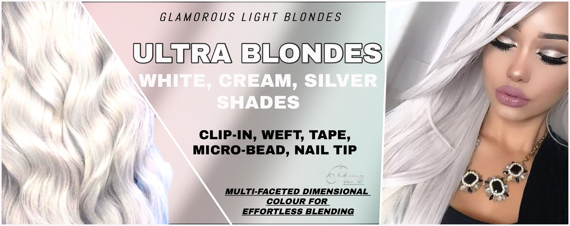 silver blonde tape hair extensions, white blonde hair extensions Australia, cream blonde hair extensions Australia