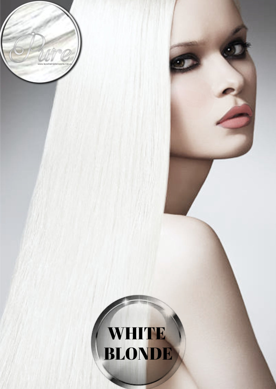 White blonde hair extensions, made of Russian 100% pure remy human hair