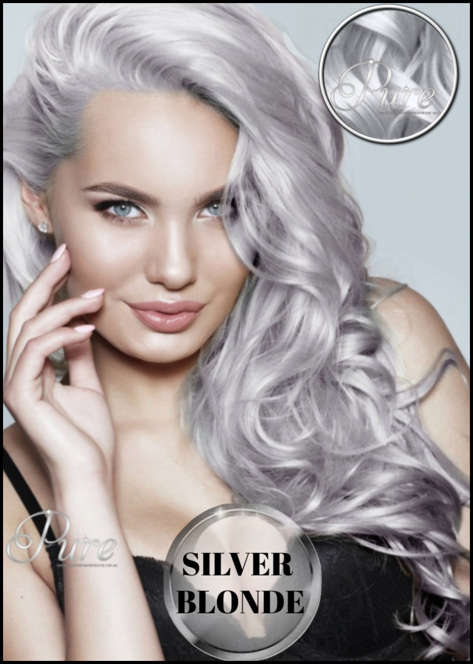 Silver blonde hair extensions, best silver blonde hair extensions made from Russian pure remy human hair