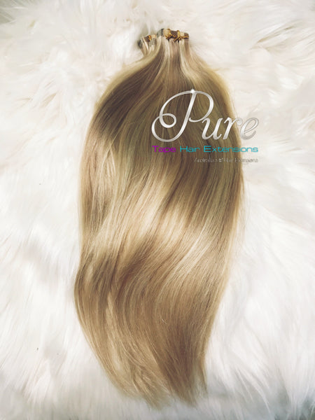 #16/60/22/18 -  PARADISE BLONDE - MIXED BLONDE FOILED HIGHLIGHTS - TAPE-IN HAIR EXTENSIONS - LUXURY RUSSIAN GRADE - Pure Tape Hair Extensions