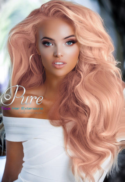 #CORAL BLONDE - LIGHT PEACH TAPE-IN HAIR EXTENSIONS - Pure Tape Hair Extensions