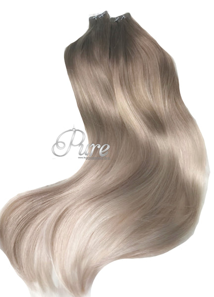 #14/16/6 DARK BLONDE TO CARAMEL BLONDE - SHORT ROOT STRETCH / FADE BALAYAGE / OMBRE LUXURY RUSSIAN GRADE TAPE HAIR EXTENSIONS - Pure Tape Hair Extensions