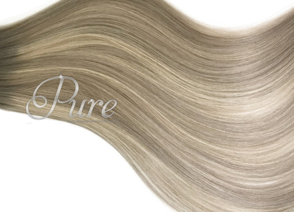 CLIP IN / #18/60/18 -DARK ASH BLONDE ROOTS TO LIGHT BLONDE & ASH BLONDE FOILS - Pure Tape Hair Extensions