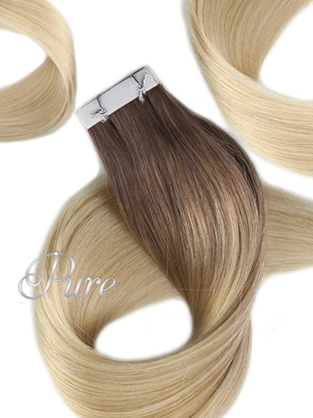 "#2/60/613 ""CHAMPAIGN"" BROWN TO MULTI-TONAL LIGHT BLONDE - SHORT ROOT FADE BALAYAGE / OMBRE LUXURY RUSSIAN GRADE HAIR EXTENSIONS. - Pure Tape Hair Extensions"