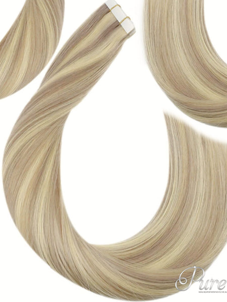"#18h/60 ""HOLLYWOOD"" ASH & PLATINUM BLONDE HIGHLIGHTS TAPE HAIR EXTENSIONS"