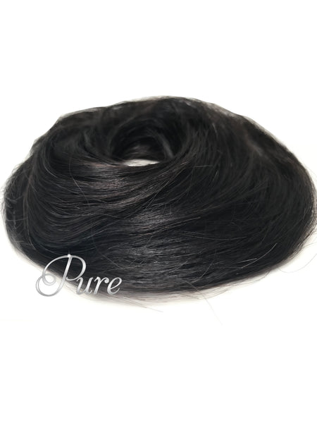 #1  Black  -Booster Volume Bun - 100% human hair scrunchies bun - Pure Tape Hair Extensions