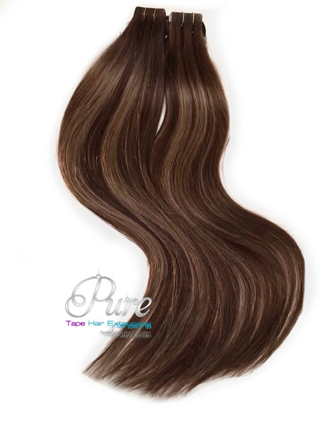 "#4/6/10 ""MOONLIGHT"" BROWN TO DARK BLONDE ROOT STRETCH BALAYAGE TAPE HAIR EXTENSIONS - Pure Tape Hair Extensions"