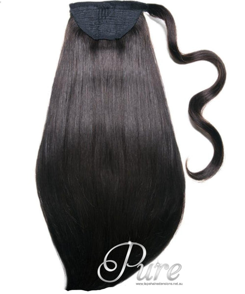 WRAP PONYTAIL HAIR EXTENSION #NATURAL COLOUR - MONGOLIAN HAIR DARKEST BROWN / NATURAL BLACK - Pure Tape Hair Extensions