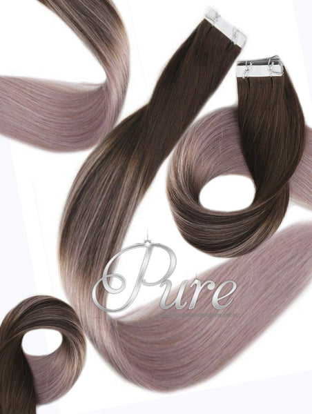 #2/ASH  DARK BROWN TO ASH BLONDE BALAYAGE TAPE HAIR EXTENSIONS