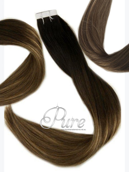 "#1B/6/10 ""SAHARA"" DARK BROWN HIGHLIGHT BALAYAGE TAPE HAIR EXTENSIONS"