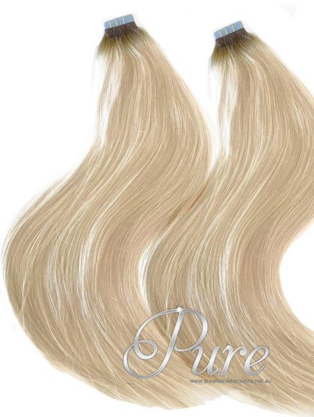 6/613 Light Brown To Blonde Short Root Fade Balayage / Ombre Tape Hair Extensions - Pure Tape Hair Extensions