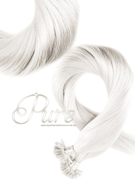 "#WHITE BLONDE NAIL-TIP / KERATIN BOND HAIR EXTENSION- WHITEST BLONDE 18- 22"" - Pure Tape Hair Extensions"