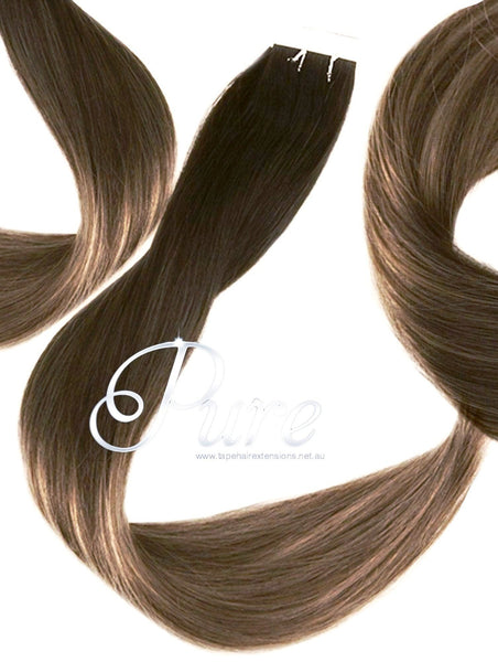 2/22/4/10 OMBRE TAPE-IN SEAMLESS - NEW EASY BLENDS -DARK BROWN ROOTS TO MEDIUM BLONDE WITH FOILS OF MEDIUM & LIGHT RBOWN - Pure Tape Hair Extensions