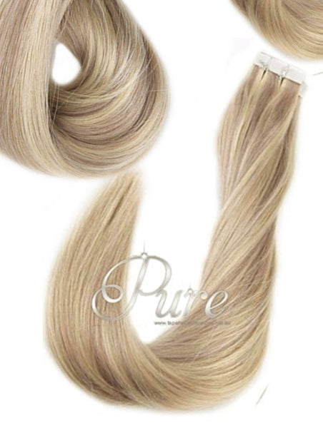 "#16/60/22/18 "" PARADISE BLONDE""  BLONDE FOILED / HIGHLIGHTS TAPE HAIR EXTENSIONS"