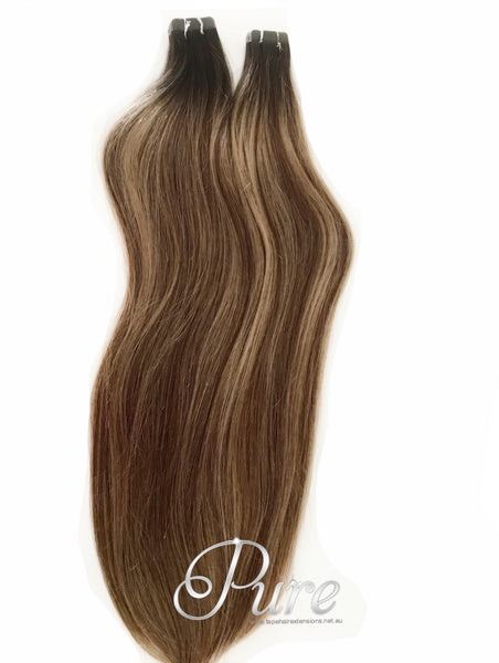 "#2/6/14 ""BAHAMAS"" DARK BROWN TO MEDIUM CARAMEL BLONDE BALAYAGE TAPE HAIR EXTENSIONS - Pure Tape Hair Extensions"