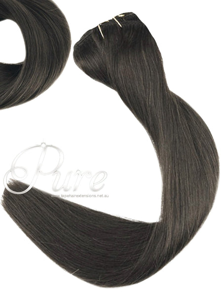 #1B - DARKEST BROWN / NATURAL BLACK / WEAVE WEFT LUXURY VIRGIN HAIR - Pure Tape Hair Extensions