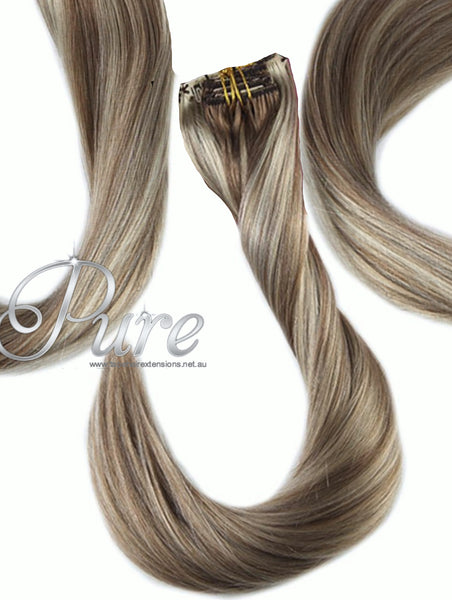 "#16/22 ""SUGAR & SPICE"" MEDIUM BLONDE DARK BLONDE MIX FOILED HIGHLIGHTS CLIP-IN HAIR EXTENSIONS - Pure Tape Hair Extensions"