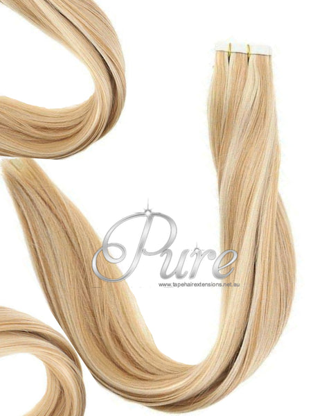 #27/613 TAPE HAIR EXTENSIONS STRAWBERRY BLONDE & LIGHT BLONDE FOILS HAIR EXTENSIONS - Pure Tape Hair Extensions