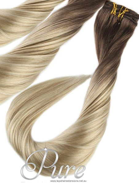"#4/60/613 ""TIMELESS"" - BROWN ROOTS TO LIGHT BLONDE BLEND CLIP IN HAIR EXTENSIONS - Pure Tape Hair Extensions"