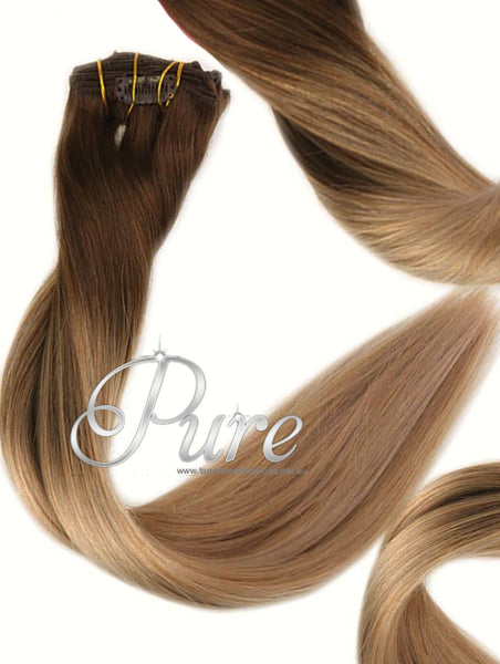#2/14 ULTIMATE CLIP IN BALAYAGE HAIR EXTENSIONS - Brown to CaramelBlonde / Long Root Stretch - Pure Tape Hair Extensions