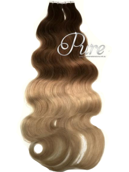 "#2/4/22 Wavy Ombre Balayage Luxury Russian Grade Tape Hair Extensions 22"" - Pure Tape Hair Extensions"