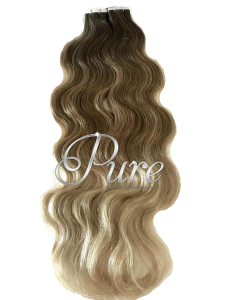 #4/10/22 Wavy Ombre / Balayage Luxury Russian Grade Tape Hair Extensions 22""