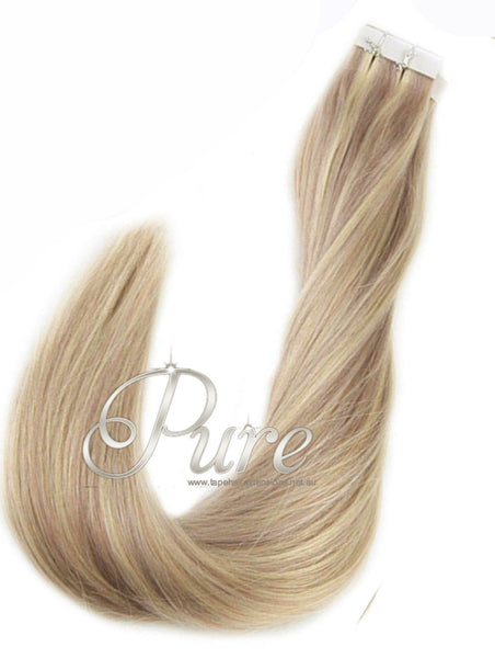 "#16/60/22/18 "" PARADISE BLONDE""  BLONDE FOILED / HIGHLIGHTS TAPE HAIR EXTENSIONS - Pure Tape Hair Extensions"